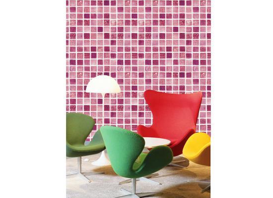 Selbstklebende Tapete Lila : Tapete selbstklebend Dekofolie Mosaik Fliesen lila Bad Deko Fliesen (6