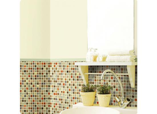Badezimmer fliesen mosaik bunt  Tapete selbstklebend Mosaik Fliesen bunt-Fliesentapete