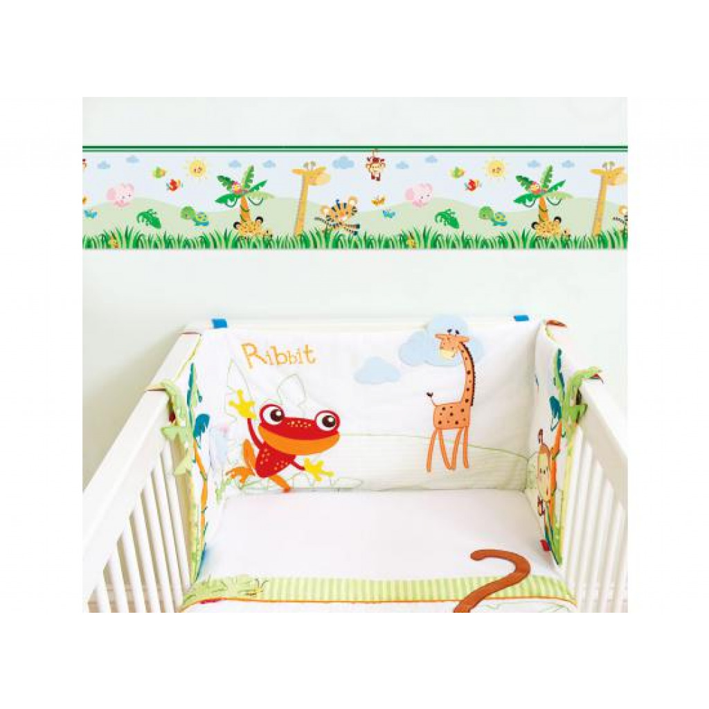 tapeten bord re borte fisherprice animals of the rainforest babyzimmer 4 00 1m ebay. Black Bedroom Furniture Sets. Home Design Ideas