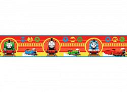 Kinder Bordüre Lokomotive Thomas rot