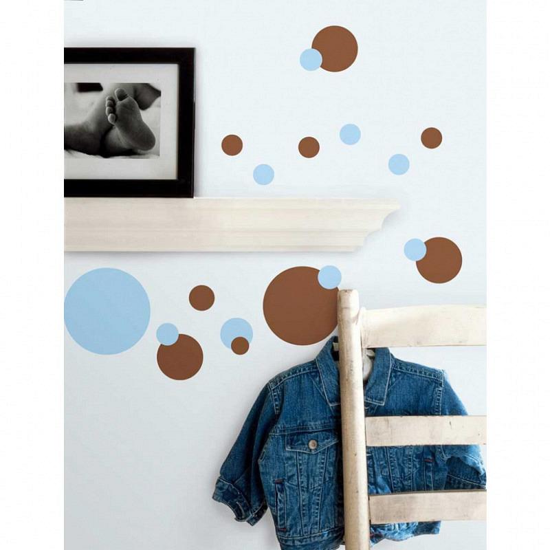 RoomMates Wandsticker blaue und braune Punkte