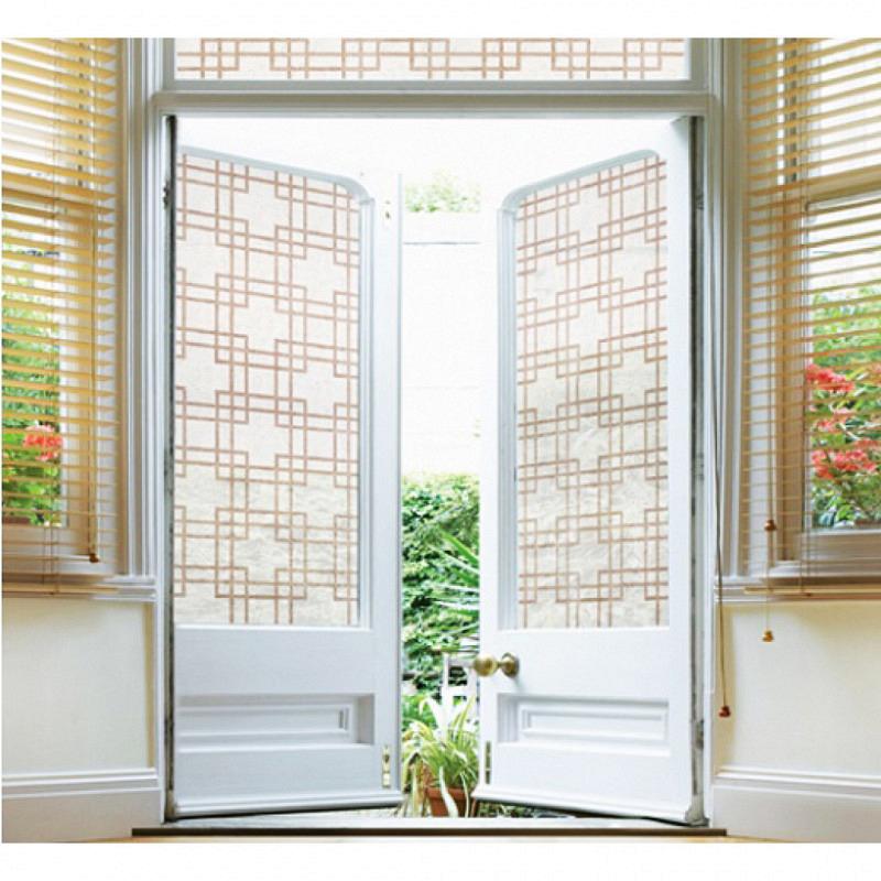Fensterfolie selbstklebend Rautenmuster braun