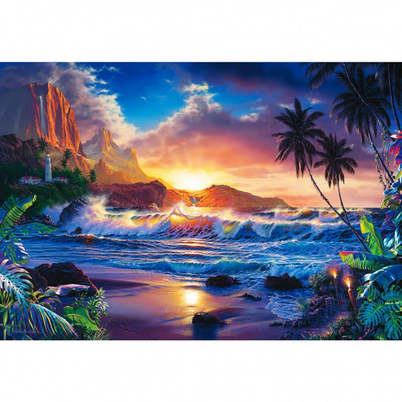 Wandbild Sonnenuntergang Palmen Inselparadies
