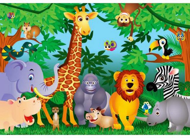 Fototapete Kinderzimmer Dschungeltiere