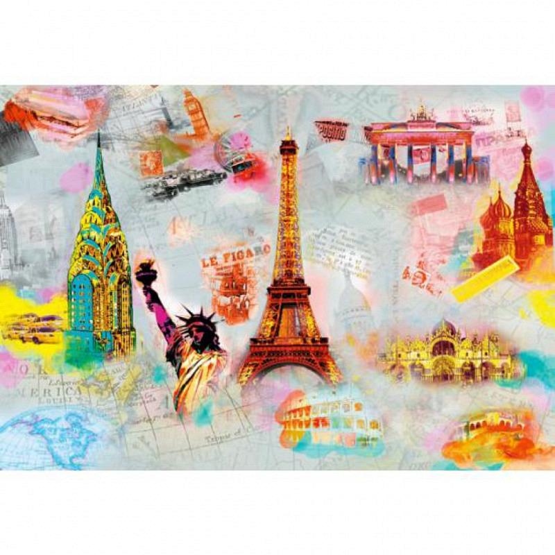 Wandbild Eiffelturm Freiheitsstatue
