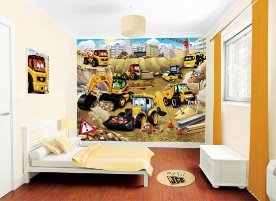 Fototapete Kinderzimmer Wandbild Walltastic Baustelle My 1st JCB