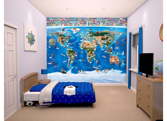 fototapete kinderzimmer weltkarte mit flaggen wanddeko jungen riesen wandbild ebay. Black Bedroom Furniture Sets. Home Design Ideas