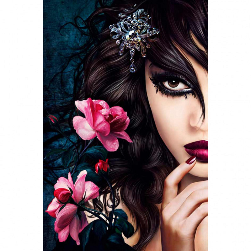 Wandbild Poster Emo Girl Midnight Rose