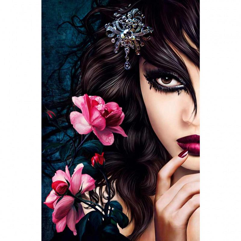 Wandbild Poster Emo Girl Midnight Rose