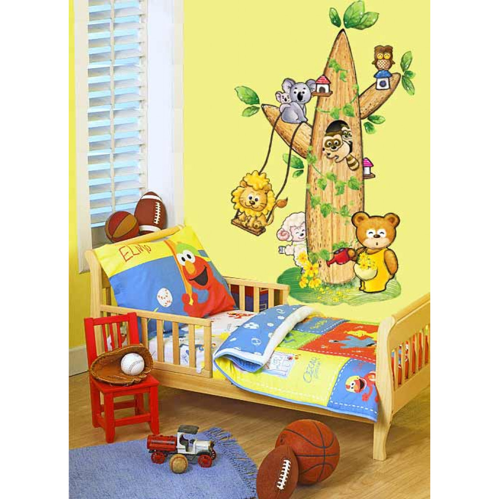 wandsticker wandtattoo kinderzimmer tierbaum www 4. Black Bedroom Furniture Sets. Home Design Ideas