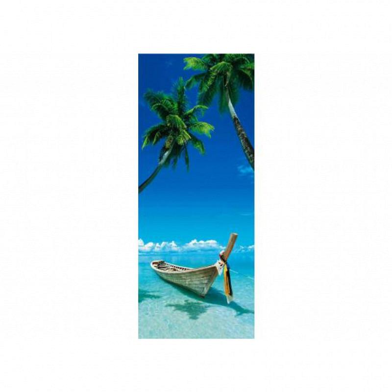 Türtapete Poster Fischerboot am Strand