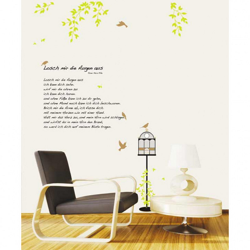 Wandsticker Rilke Gedicht Lösch mir die Augen aus