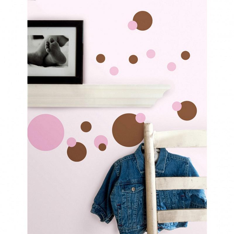 RoomMates Wandsticker pink und braune Punkte
