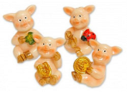 Mini-Deko-Glücksschwein Aufkleber 4er Set