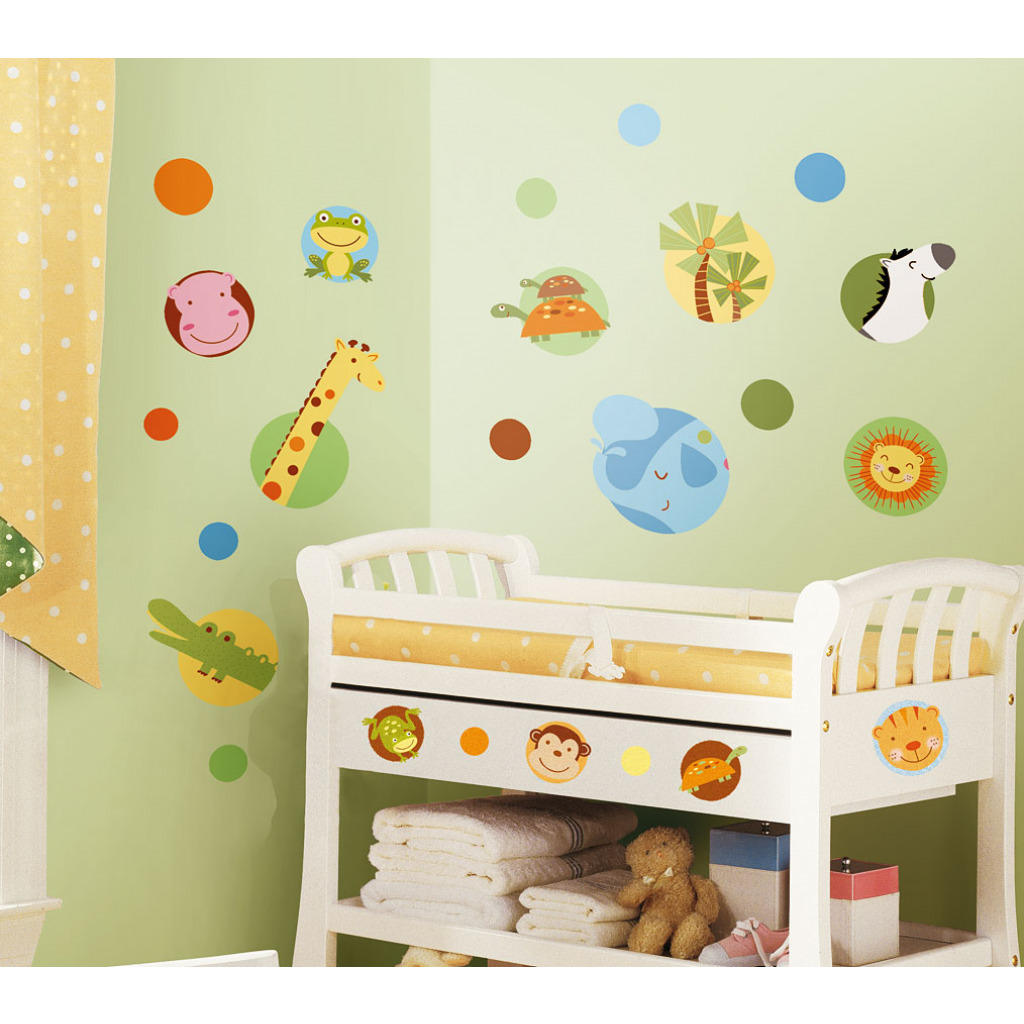 roommates wandtattoo dschungel tiere polka dot kinderzimmer. Black Bedroom Furniture Sets. Home Design Ideas