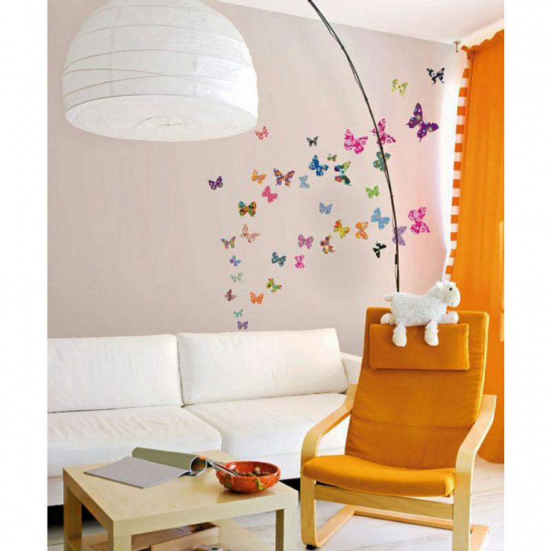 Wandtattoo farbenfrohe Retro Schmetterlinge