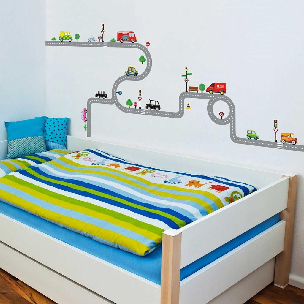 wandsticker wandpuzzle wandtattoo autobahn stra en autos kinderzimmer jungen ebay. Black Bedroom Furniture Sets. Home Design Ideas