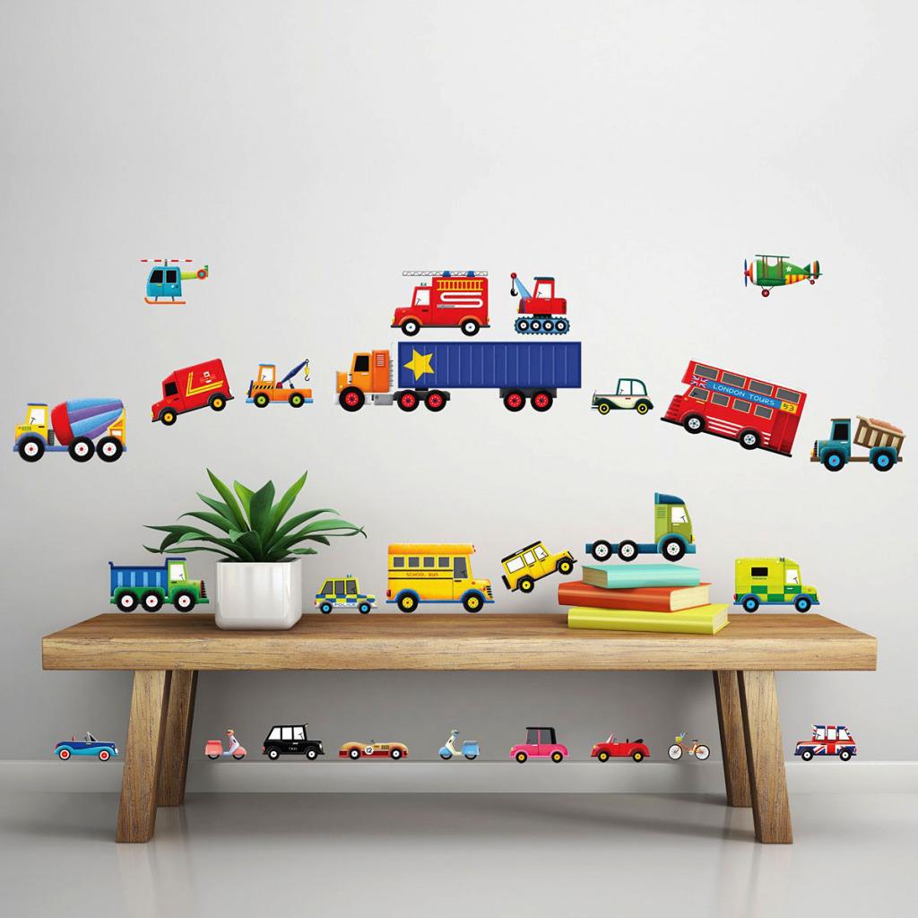 28 auto wandsticker wandtattoo feuerwehr transporter autos kinderzimmer jungen ebay. Black Bedroom Furniture Sets. Home Design Ideas