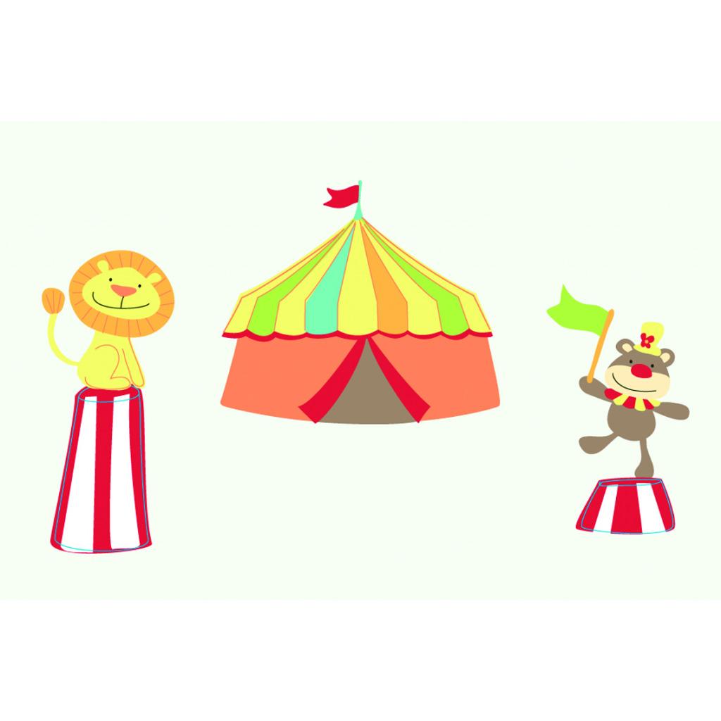 FunToSee Wandsticker Set Mister Giggles Zirkus Kinderzimmer Dekokoffer