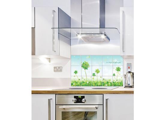 tapete selbstklebend dekofolie spritzschutz wiese kleeblatt abwaschbar 10 99 1m ebay. Black Bedroom Furniture Sets. Home Design Ideas