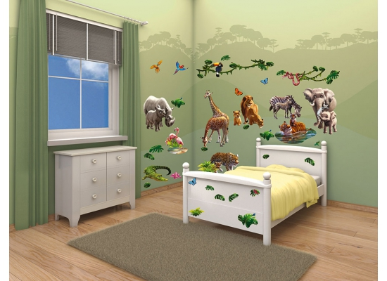wandtattoo wandsticker kinderzimmer dschungel tiere afrika safari zoo wanddeko ebay. Black Bedroom Furniture Sets. Home Design Ideas