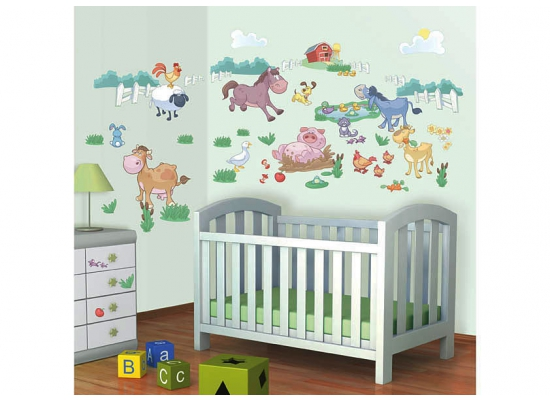 wandsticker kinderzimmer baby bauernhof farm tiere. Black Bedroom Furniture Sets. Home Design Ideas