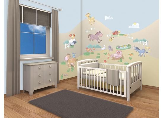 wandsticker kinderzimmer baby bauernhof farm tiere. Black Bedroom Furniture Sets. Home Design Ideas
