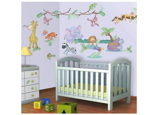 wandtattoo baby dschungel tier safari walltastic wandsticker. Black Bedroom Furniture Sets. Home Design Ideas