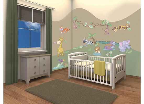 wandsticker kinderzimmer baby dschungel tiere safari. Black Bedroom Furniture Sets. Home Design Ideas