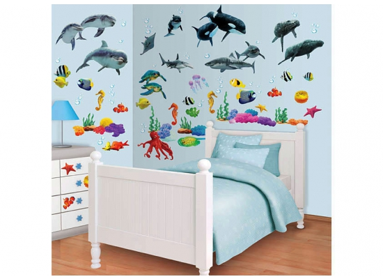 wandsticker kinderzimmer fische wandtattoo unterwasserwelt babyzimmer wanddeko ebay. Black Bedroom Furniture Sets. Home Design Ideas