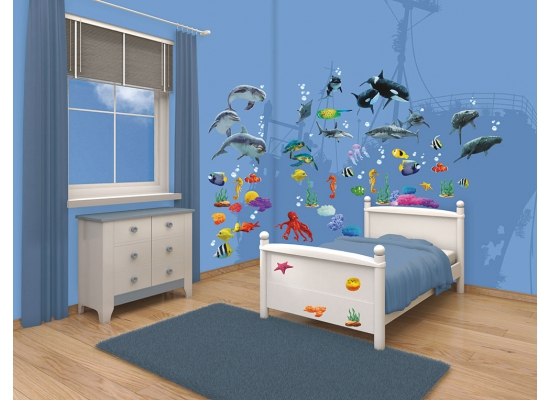 walltastic wandsticker kinderzimmer fische unterwasserwelt babyzimmer wanddeko ebay. Black Bedroom Furniture Sets. Home Design Ideas
