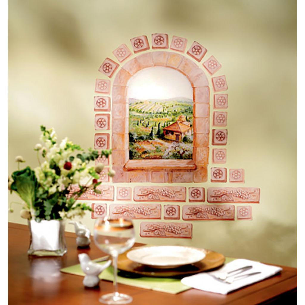Wallies Wandsticker Wandbild mediterranes Toskana Fenster Küche