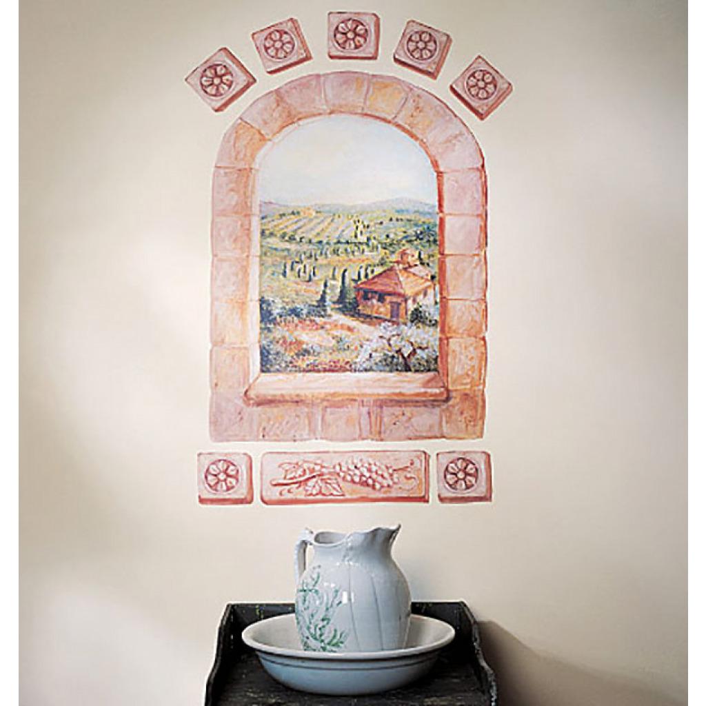 Wallies Wandsticker Wandbild mediterranes Toskana Fenster