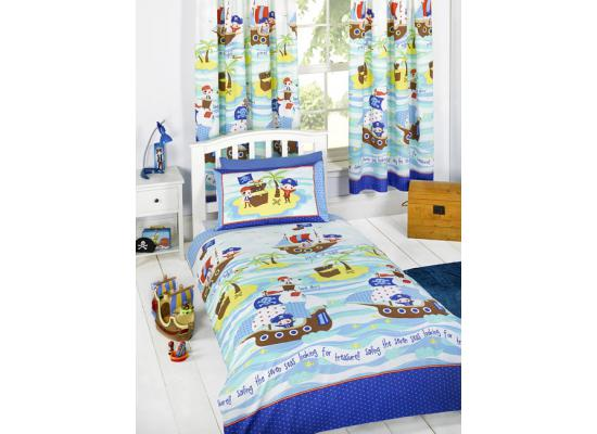 bettw sche piraten der sieben meere bettgarnitur 135x200 50x75cm kinderzimmer ebay. Black Bedroom Furniture Sets. Home Design Ideas