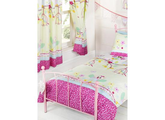 kinderzimmer gardinen vorh nge eulen und vogelk fig 168x183cm eule raffhalter ebay. Black Bedroom Furniture Sets. Home Design Ideas