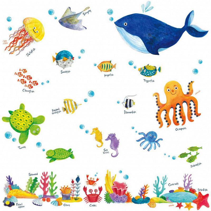 Wandsticker Meerestiere Unterwasserwelt Fische