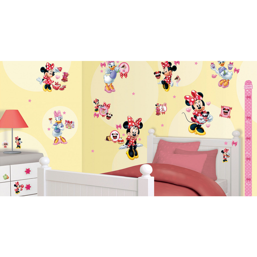 wandtattoo disney minnie mouse wandsticker kinderzimmer m dchen messlatte neu ebay. Black Bedroom Furniture Sets. Home Design Ideas