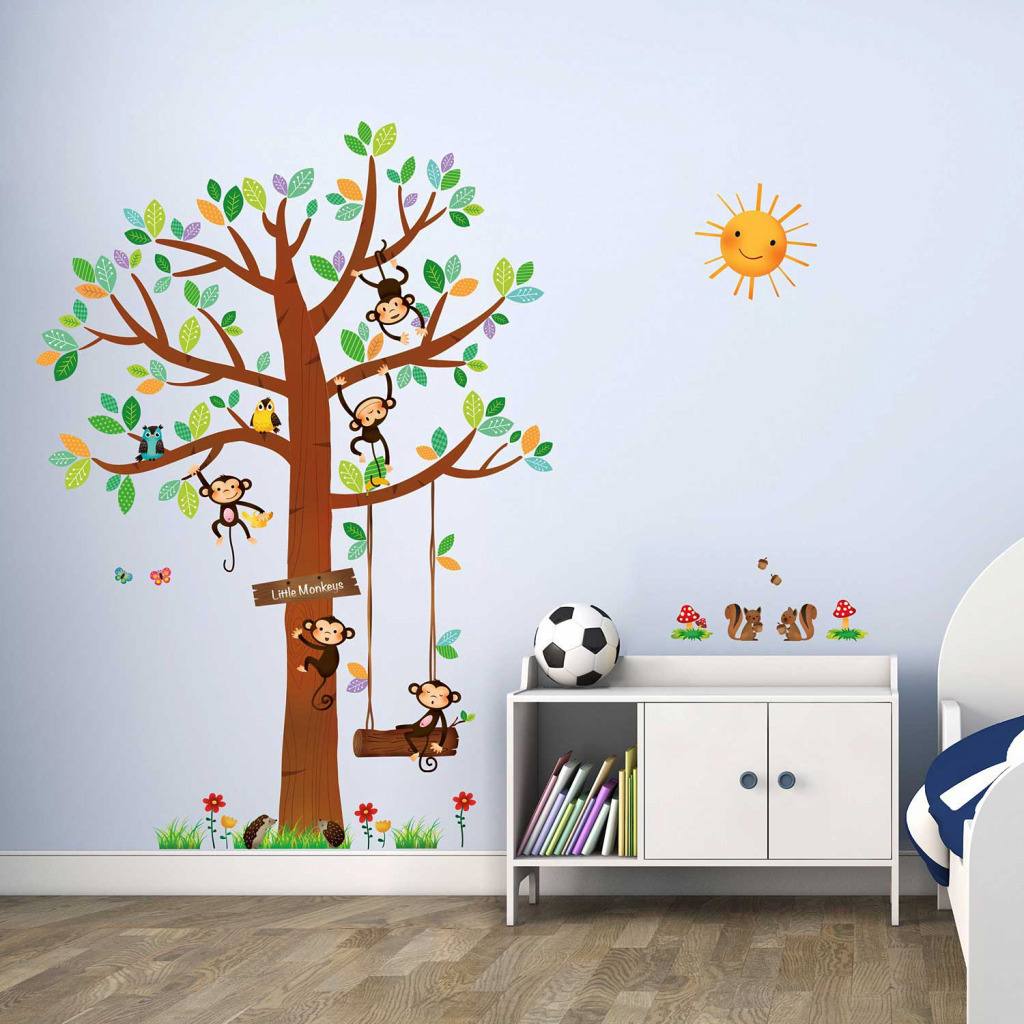 wandsticker 5 kleine affen auf dem baum ca 151 cm hoch ebay. Black Bedroom Furniture Sets. Home Design Ideas