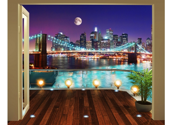 fototapete new york brooklyn bridge panorama walltastic fototapete. Black Bedroom Furniture Sets. Home Design Ideas