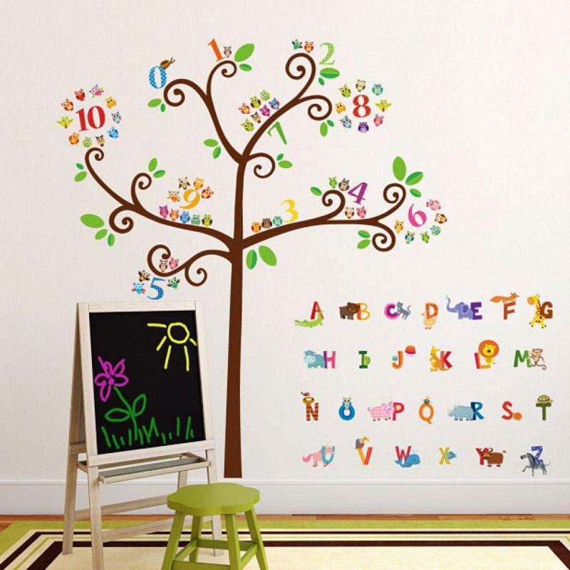 Wandtattoo Zahlenbaum Tier-Alphabet