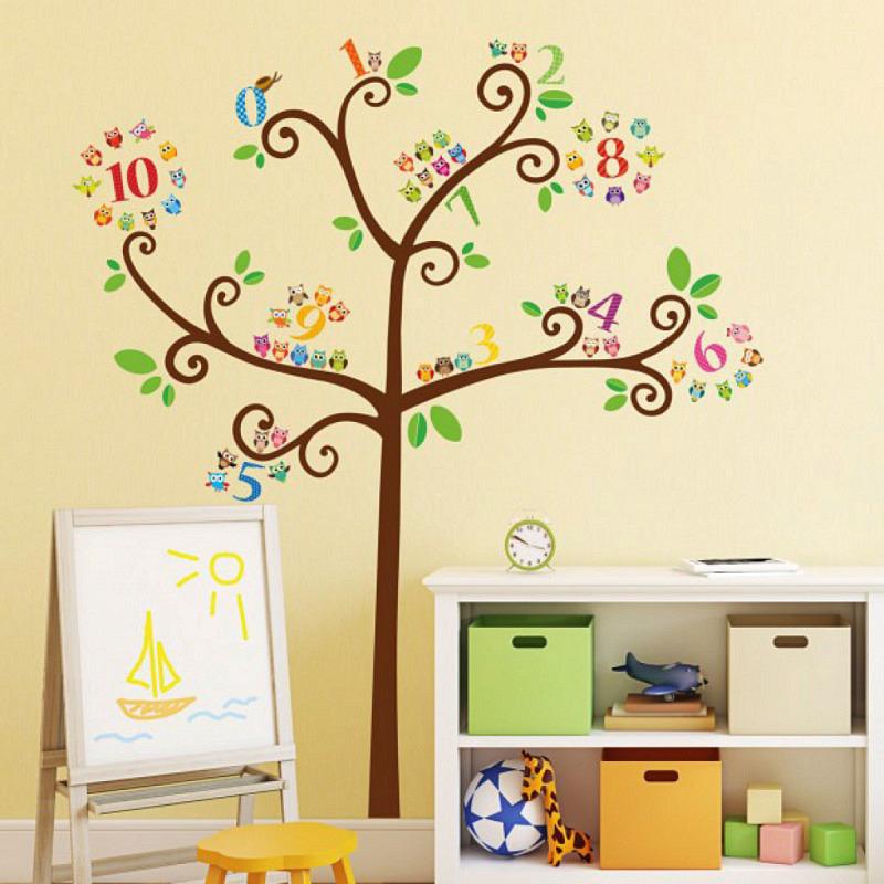 Wandsticker Zahlen Eulenbaum