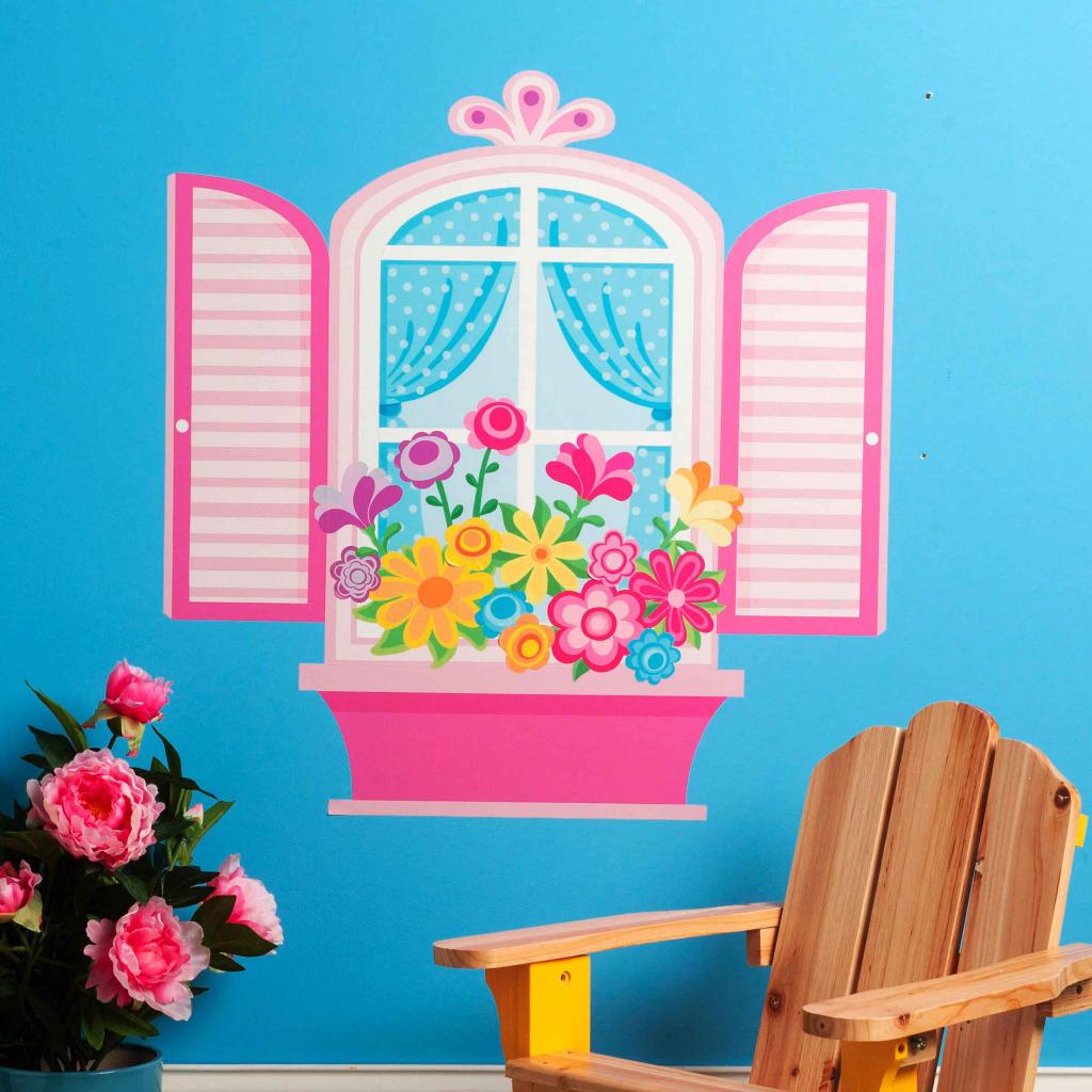 Wallies Wandsticker Kinderzimmer Blumenfenster