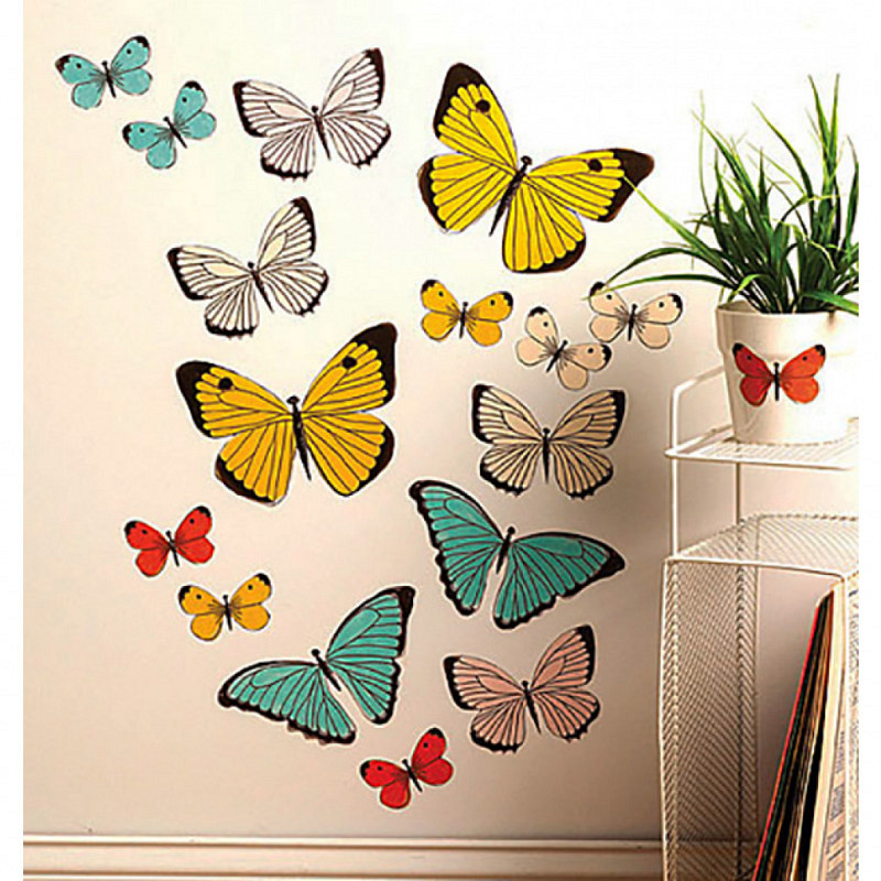 Wandsticker Pastell Schmetterlinge Wallies