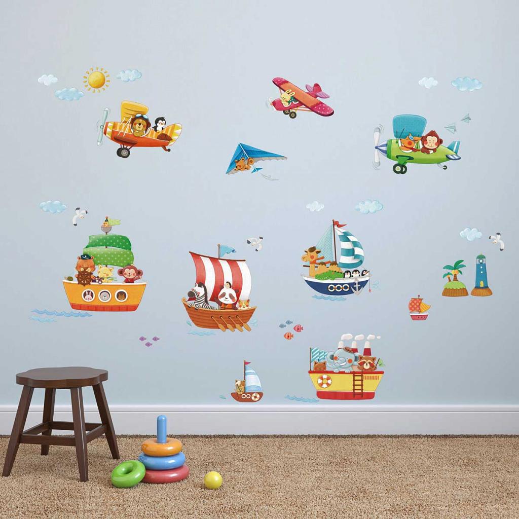 wandsticker schiffe flugzeuge der tiere wandsticker kinderzimmer. Black Bedroom Furniture Sets. Home Design Ideas