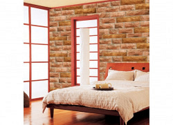 Tapete selbstklebend Steinmauer Kiesel rot
