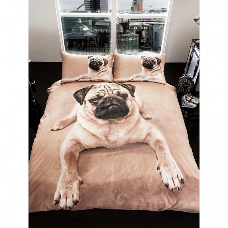 Doppel-Bettwäsche 3D Mops Welpe Hund