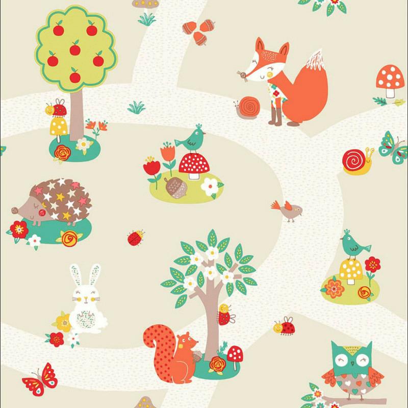 Kinderzimmer Tapete Waldtiere