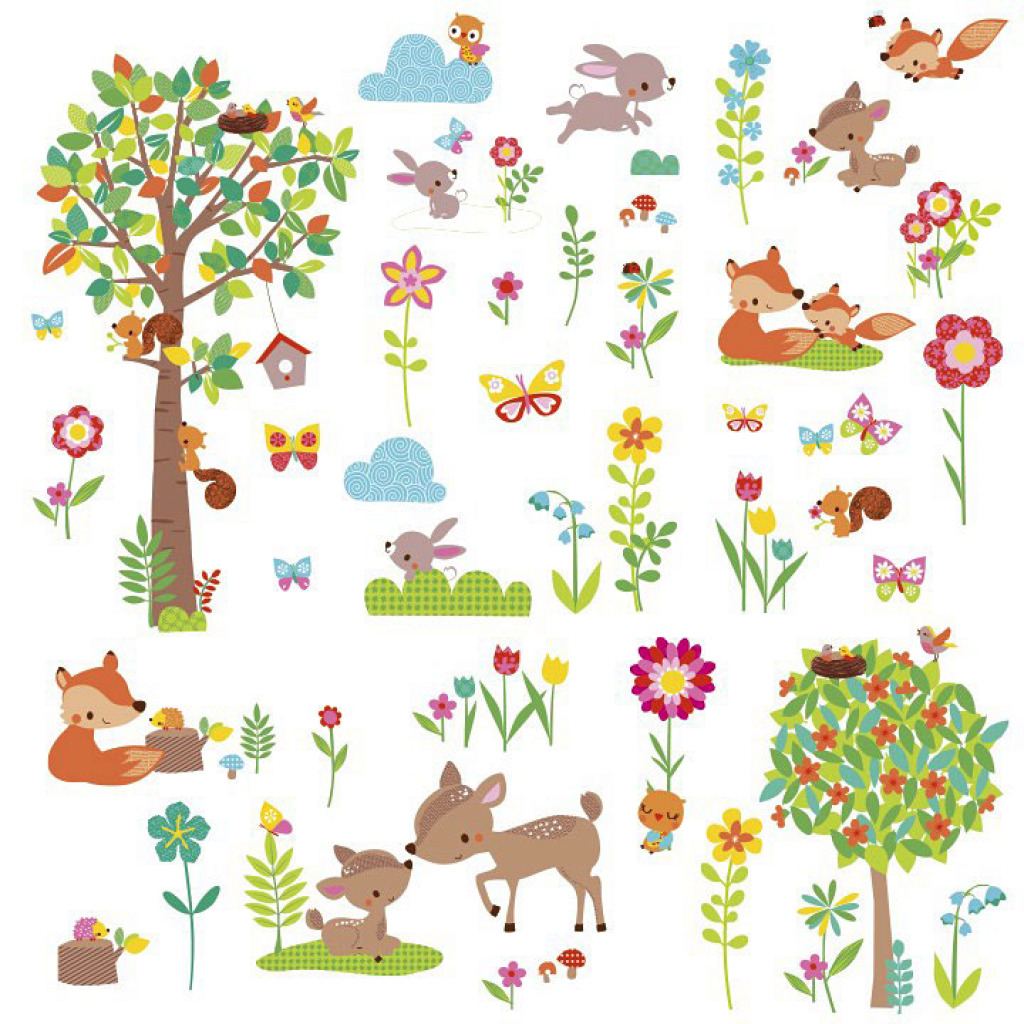 wandtattoo tiere des waldes babyzimmer wandsticker baum waldtiere roommates neu ebay. Black Bedroom Furniture Sets. Home Design Ideas