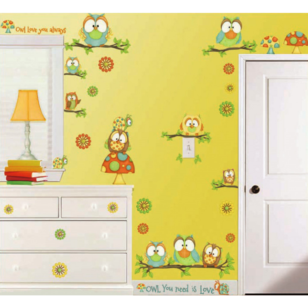 Borders Unlimited Room FX Wandsticker lustige Eulen Zimmerdekoration