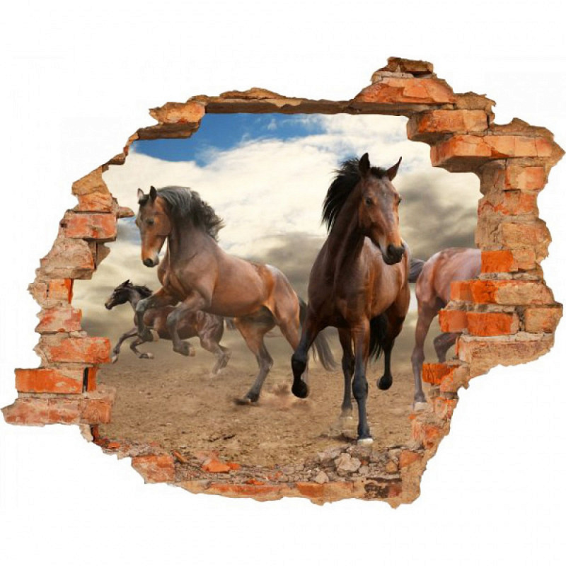 Wandsticker 3D-Optik Pferde